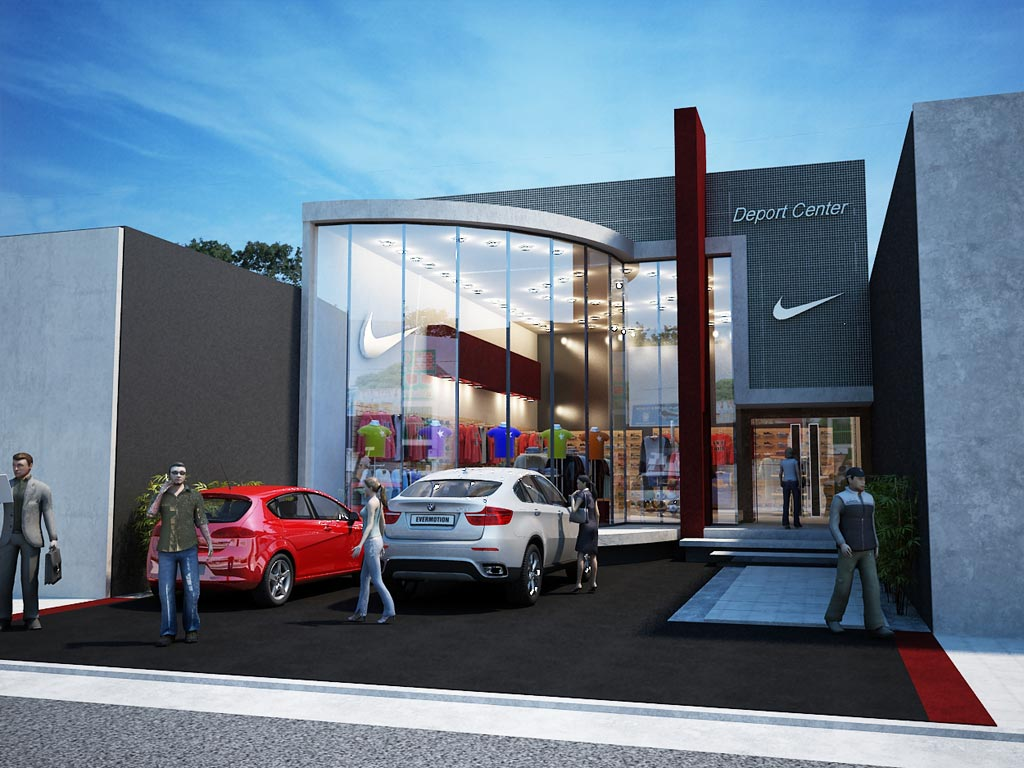 3d local comercial deport center render arquitectura for Local arquitectura