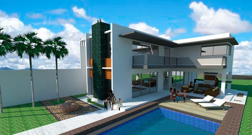 3d casa de fin de semana minimalista render for Render casa minimalista