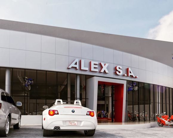 3D Render Fachada Showroom Alex SA Rener
