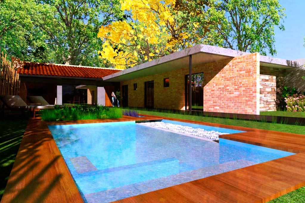 3d mutaci n quincho a vivienda unifamiliar render for Construccion de piscinas en paraguay