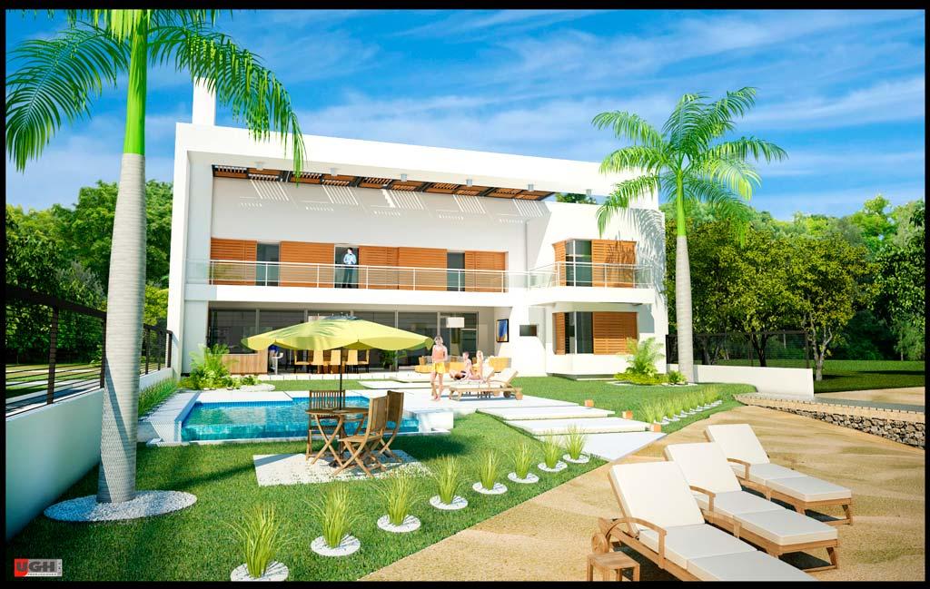 3d casa minimalista de playa render for Proyectos minimalistas