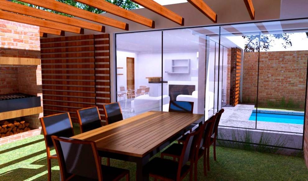 3d anteproyecto de vivienda 3 patios render for Disenos de porches para casas