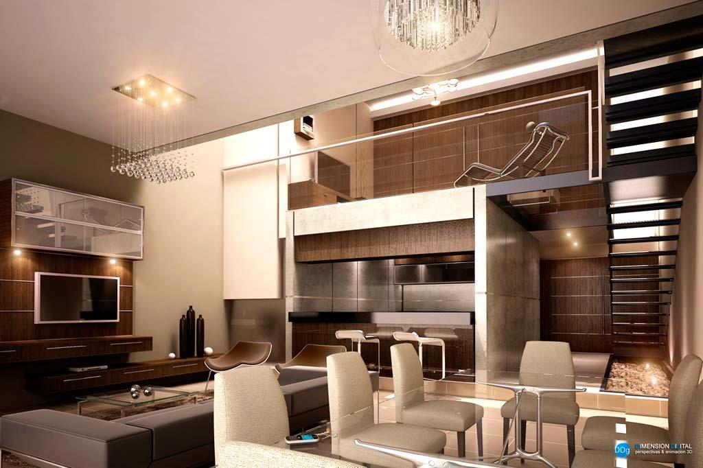 3d interiores de duplex barrio villa aurelia render paraguay galer a - Arquitecto de interiores ...