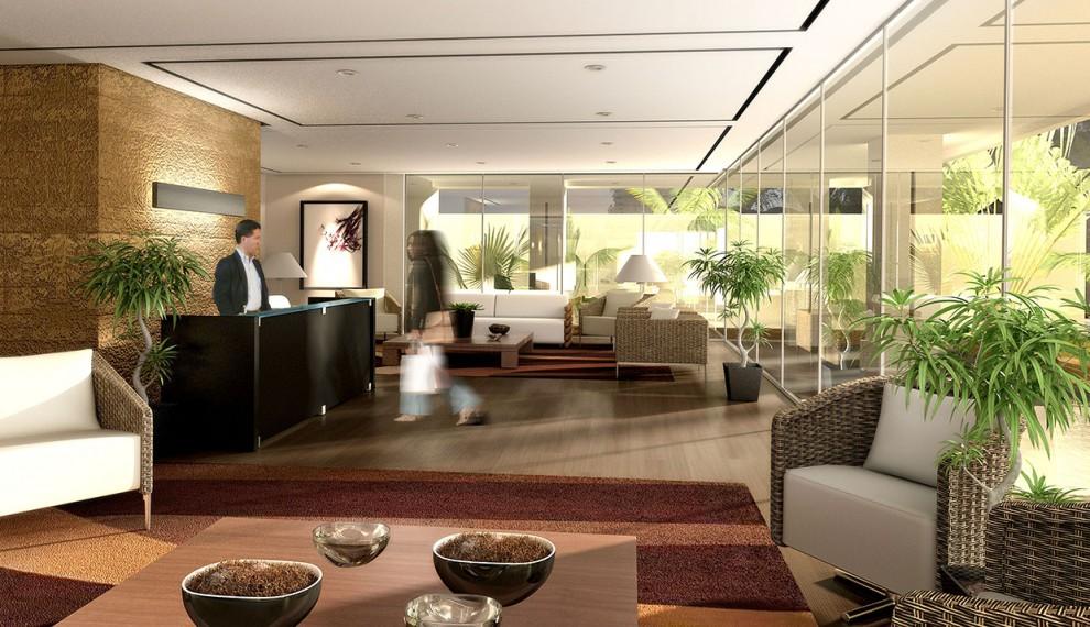 3d edificio de departamentos render for Terrazas traseras