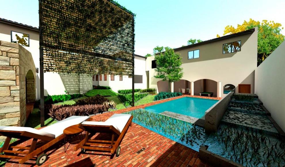 3d reforma patio con piscina natural y huerta render for Software diseno piscinas