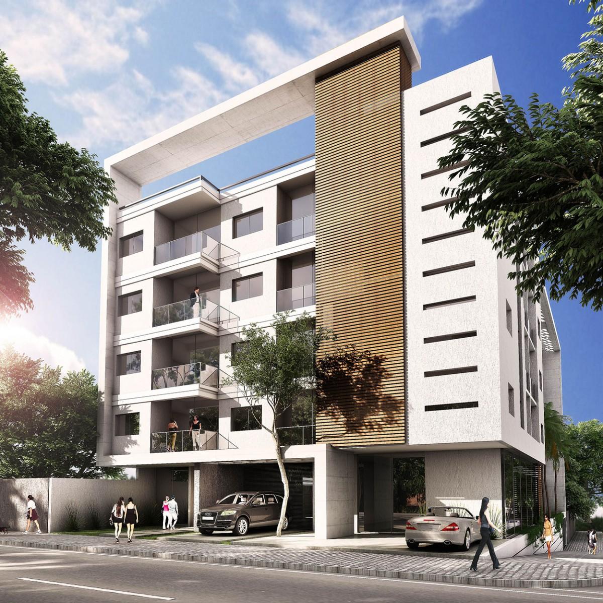 3d edificio de departamentos render for Edificio de departamentos planos