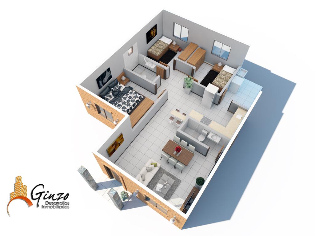 3d viviendas econ micas render for Empresas constructoras de casas