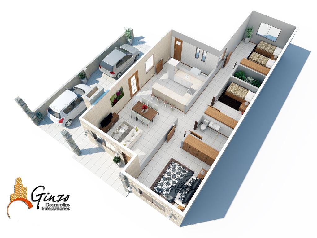 3d viviendas econ micas render for Enchufes planos para detras muebles