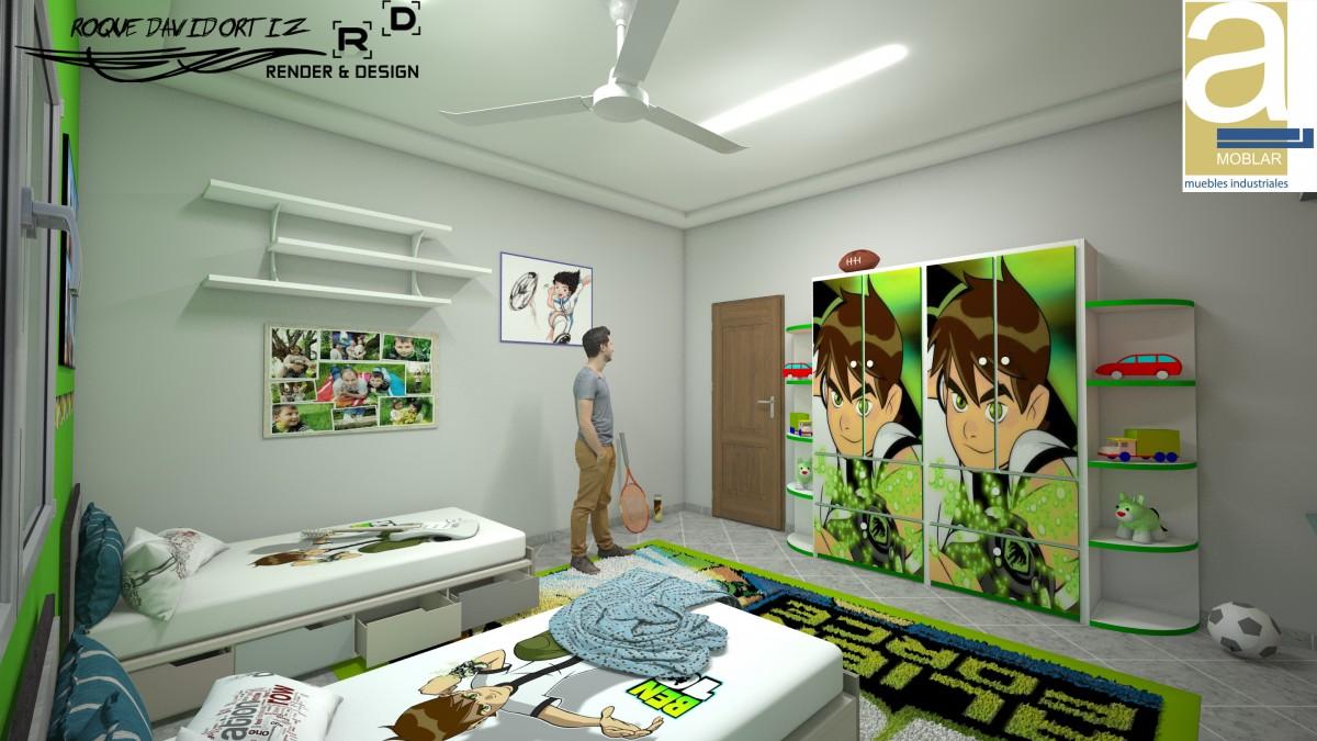 3d dise o interior dormitorio ni os render arquitectos for Dormitorio ninos diseno