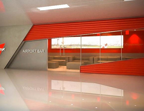 3D Bar Aeropuerto Silvio Petirossi Render