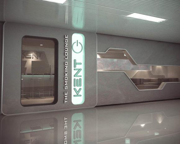 3D Kent Smoking Lounge Aeropuerto Silvio Petirossi Render