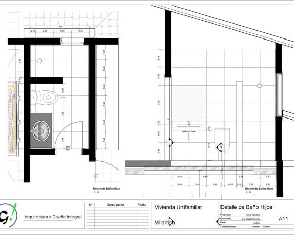 Vivienda Villarrica-Sady-DiseñoInterior - Sheet - A11 - Detalle de Baño Hijos