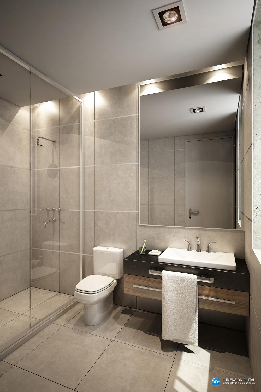 3d dise o interior de ba os para vivienda render for Diseno interior banos