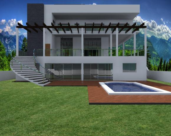3d dise o de piscina para vivienda unifamiliar render for Software diseno piscinas