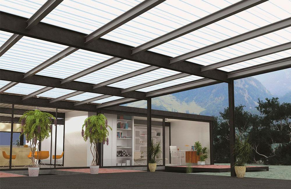 Revestido de estructuras met licas con chapas de for Diseno techos para terrazas
