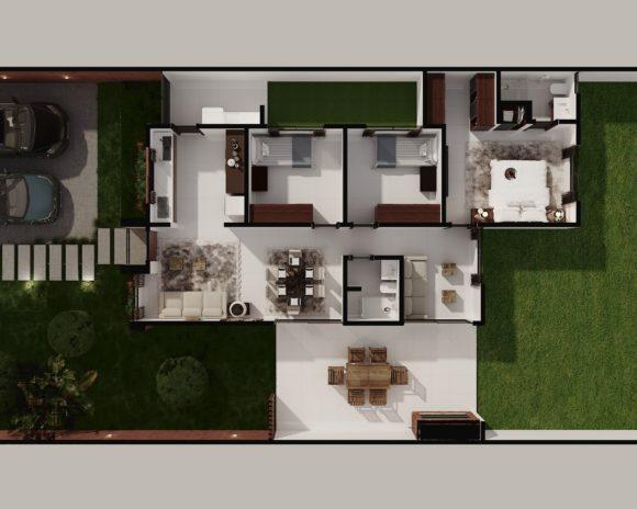 planta arquitectonica amueblada completa